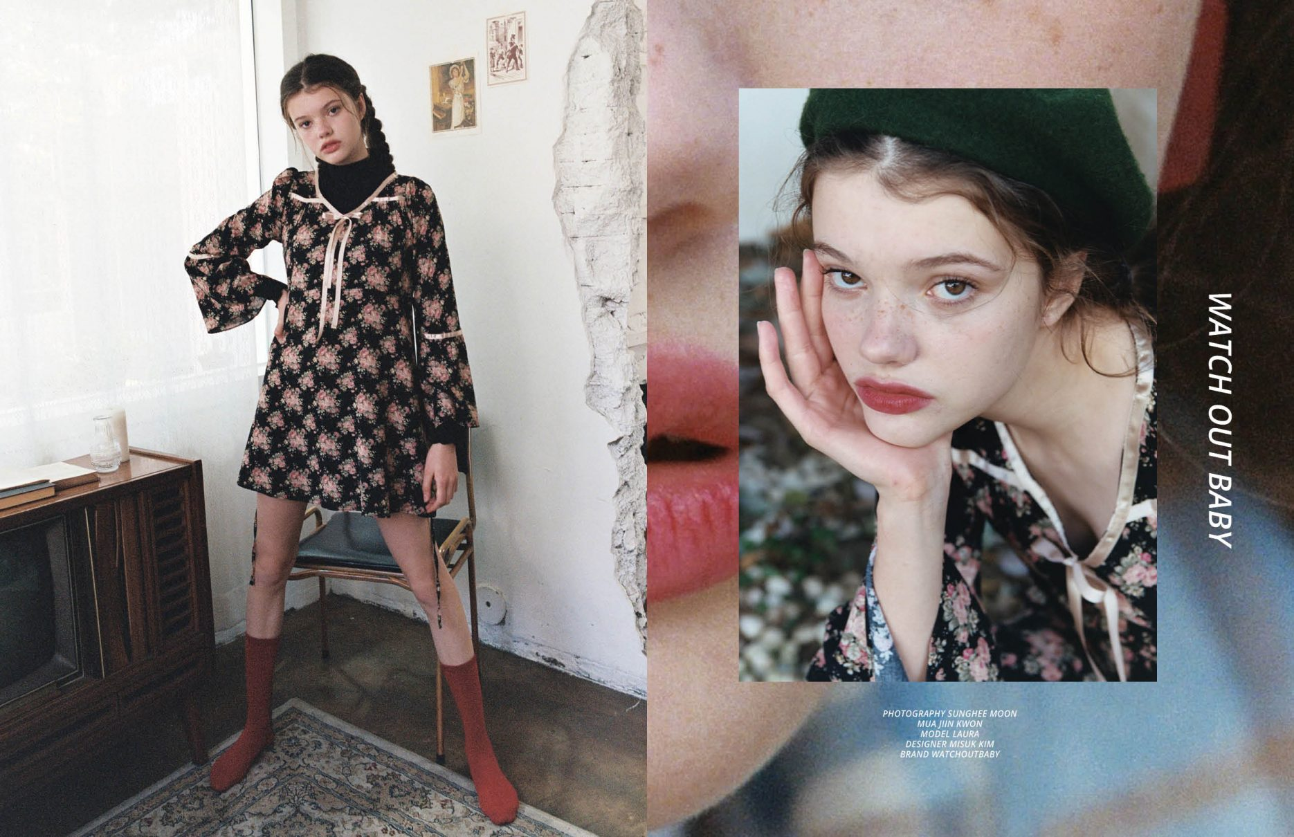"""""""Watch out baby"""" by Sunghee Moon with Laura from Made by Milk Poland Agency for Keyi Magazine Berlin with designer Misuk Kim"""