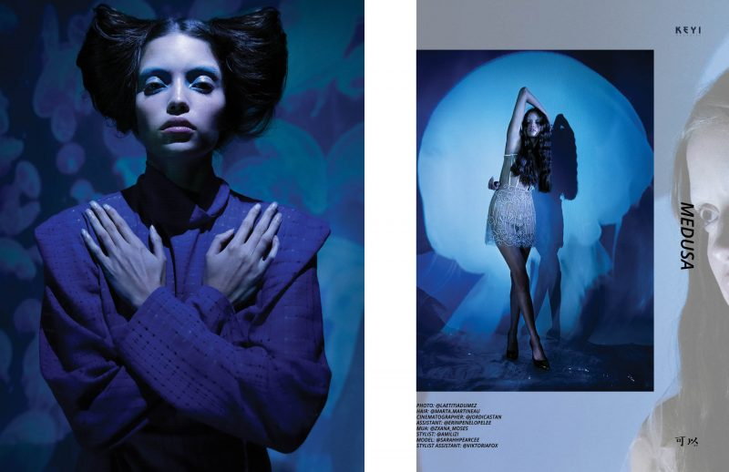 Editorial Medusa by Laetitia Dumez with Sarah Pearce for KEYI Magaine Berlin Inspired by one of the most elegant creatures of the deep sea.