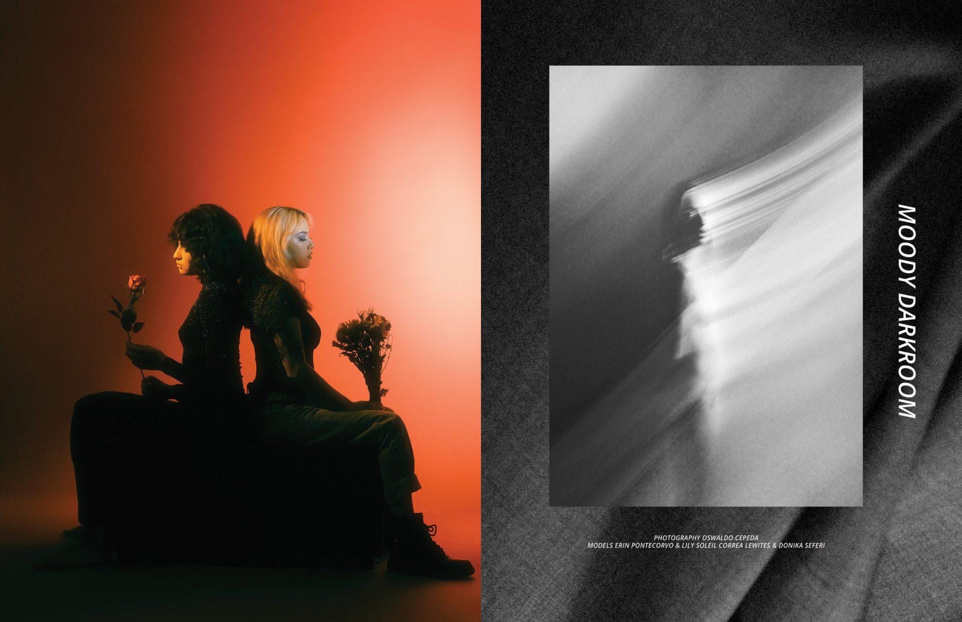 """Moody dark room"" by Oswaldo Cepeda with Erin Pontecorvo & Lily Soleil Correa Lewites & Donika Seferi for editorial Keyi Magazine Berlin"