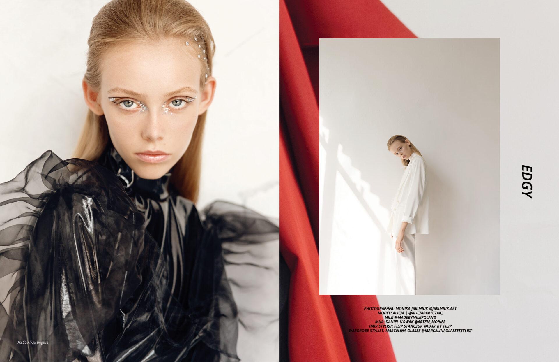 "Fashion Editorial ""Edgy"" by Monika Jakimiuk with Alicja Bartczak from Milk Agency Poland. Styling by Marcelina Glasse for KEYI Magazine"
