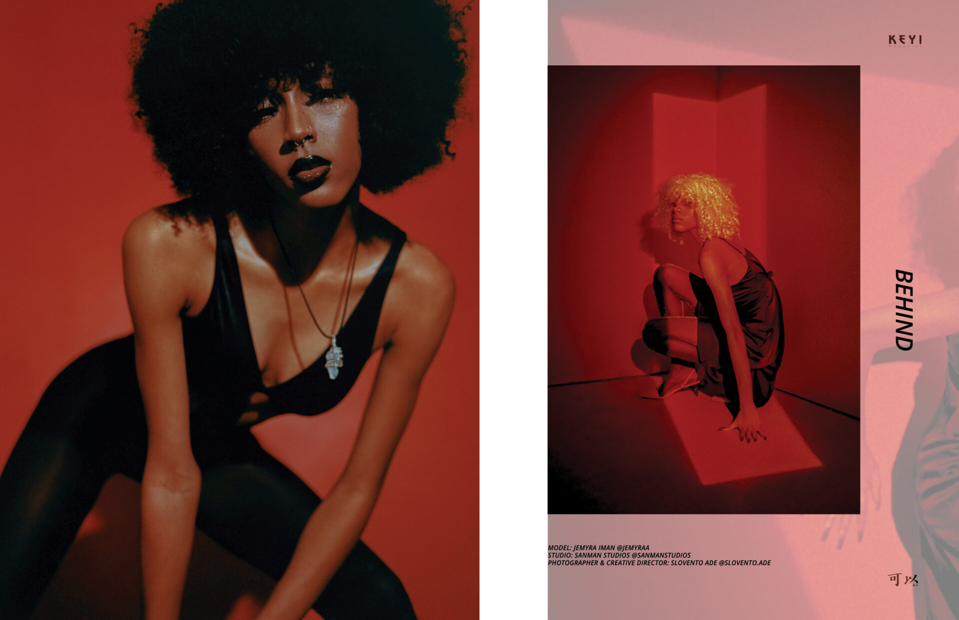 "editorial ""Behind"" by Slavento Ade with Jemyra. Location Sanman studios for keyi magazine  / Berlin / fashion / art / music /"
