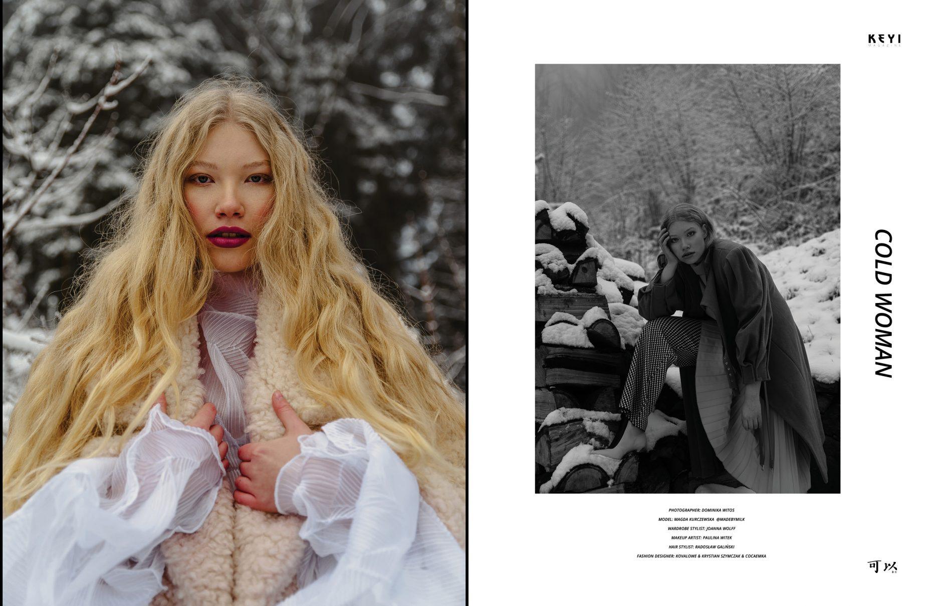 """""""Cold woman"""" by Dominika Witos with Magda Kurczewska from Made by Milk Agency. Make up by Paulina Witek and Hair by Radosław Galiński"""