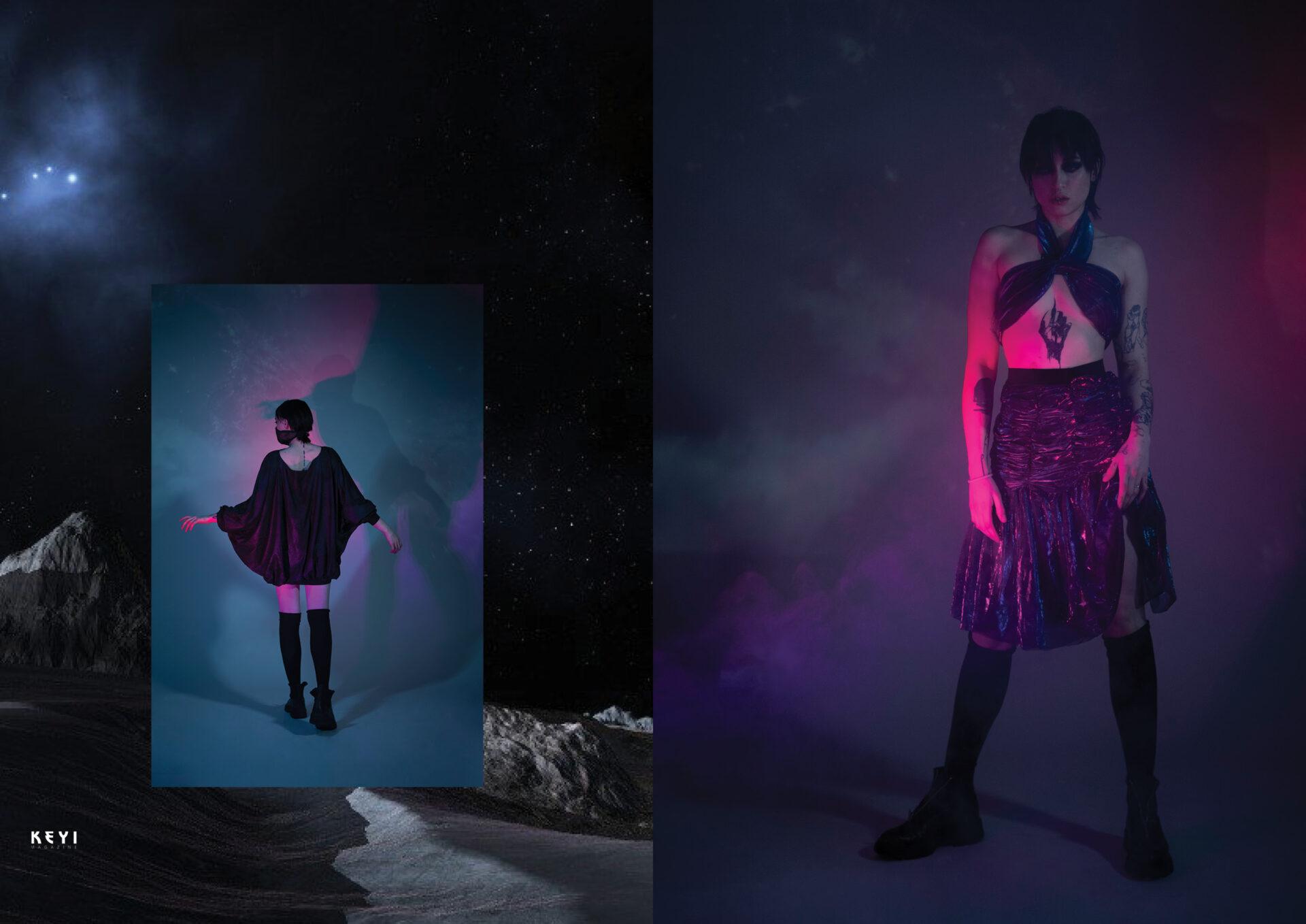LOOKBOOK:Vicious Black by KEYI STUDIO with Lueasy. Make up by Karina Evdokimova. Styling by Iwona Krzyżaniak.